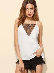 Lace Insert Cutout Back Cami Top