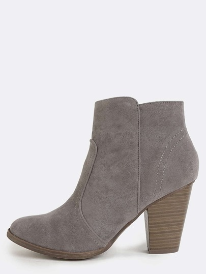 Stacked Heel Western Booties GREY