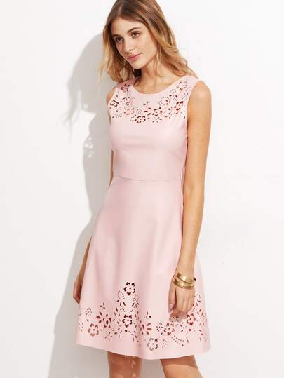 Pink Faux Leather Laser Cutout High Waist Dress