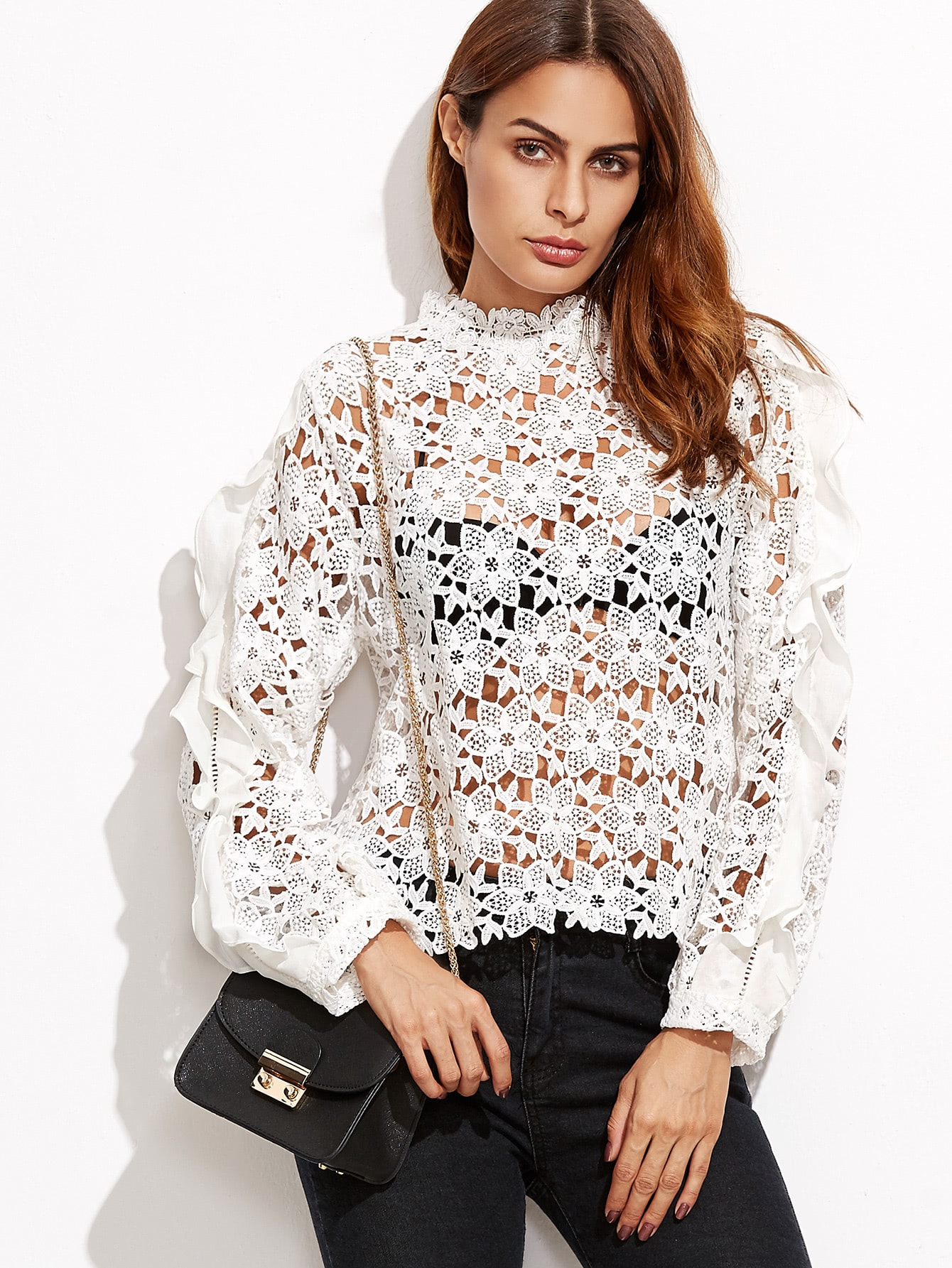 White Hollow Out Embroidered Lace Top blouse161011401