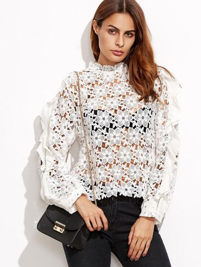 Hollow Out Lace Frill Trim Blouse