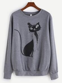 Grey Cat Print Sweatshirt