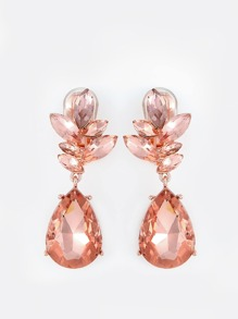 Crystal Teardrop Clip Earrings PEACH