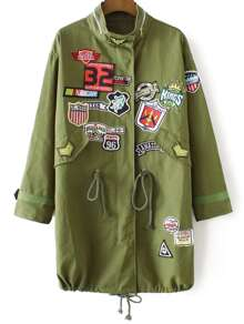 Army Green Patch Embroidery Drawstring Long Coat