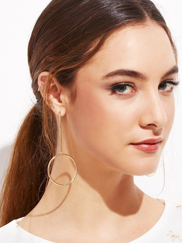 Gold Plated Hollow Circle Bar Long Drop Earrings, null