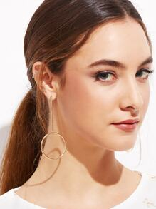 Gold Plated Hollow Circle Bar Long Drop Earrings