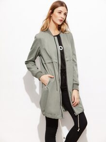 Green Ribbed Trim Drawstring Hem Longline Bomber Jacket