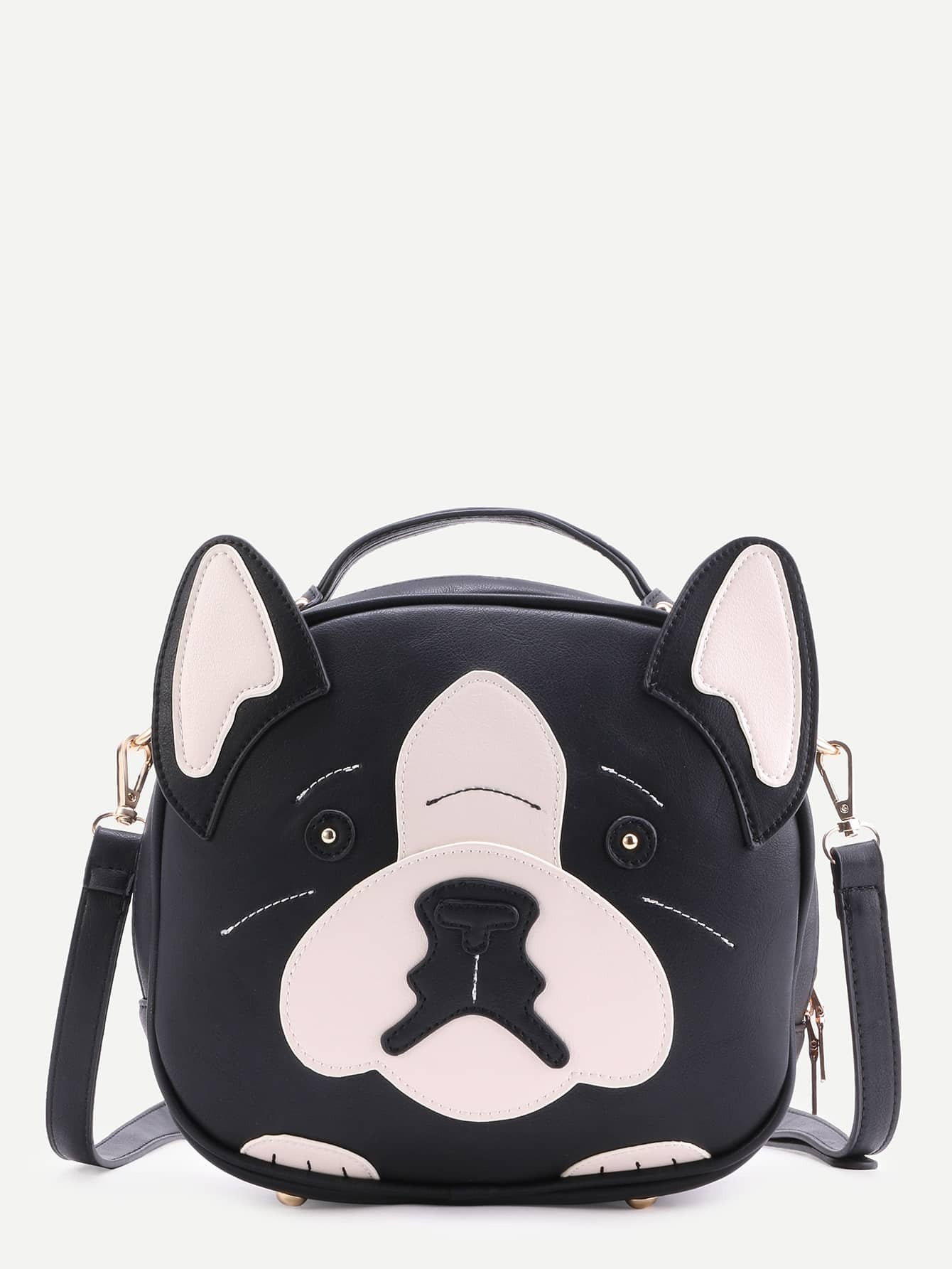 Black Faux Leather Dog Design Crossbody BagBlack Faux Leather Dog Design Crossbody Bag<br><br>color: Black and White<br>size: None