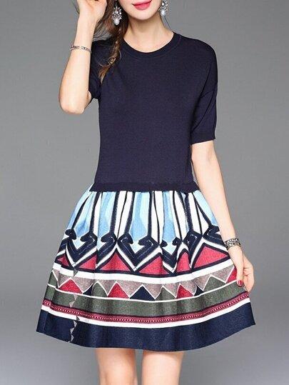 Navy Knit Chevron Print Combo Dress