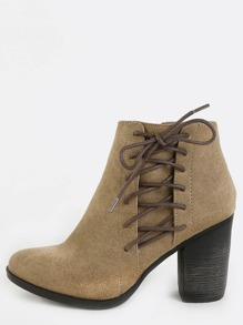 Almond Toe Side Lace Up Boots TAUPE