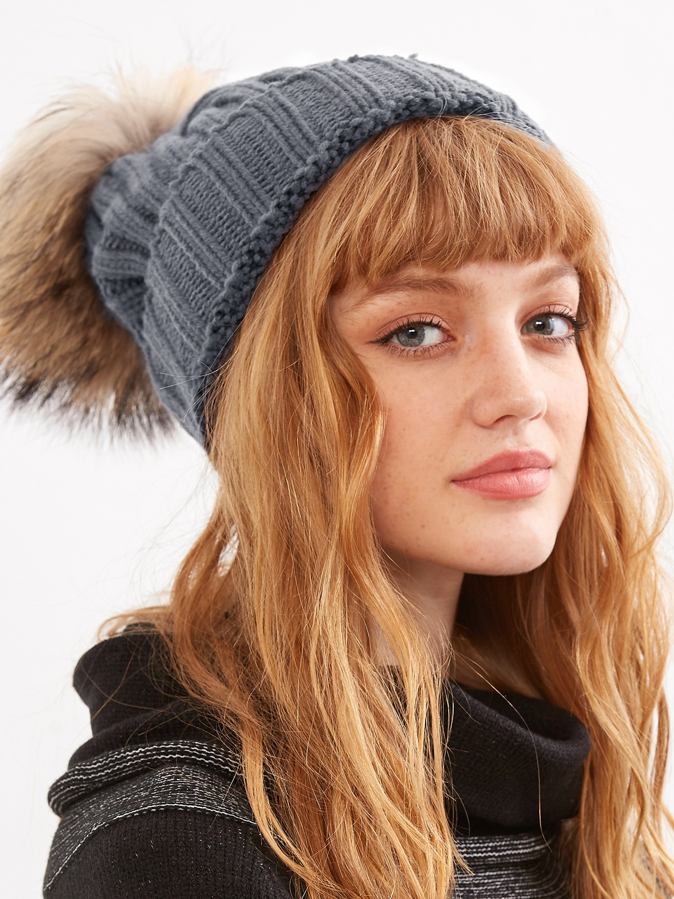 Grey Ribbed Detachable Pom Pom Hat hat160913304