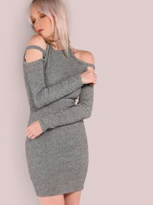 Rib Knit Double Strap Cold Shoulder Dress HEATHER GREY