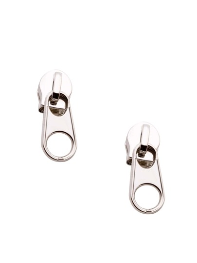 Silver Plated Funny Zipper Stud Earrings