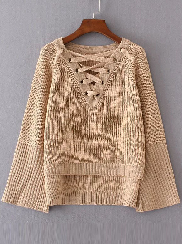 Khaki Lace Up V Neck High Low Sweater sweater161025209