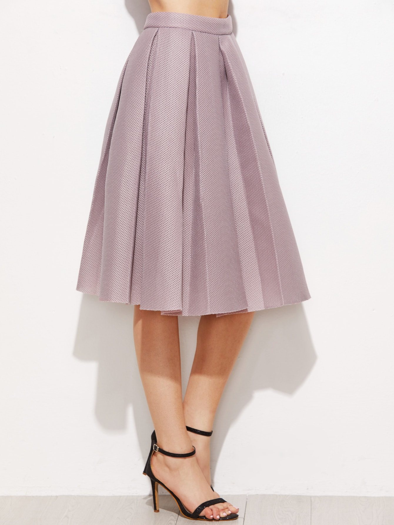 pink high waist pleated flare skirt shein sheinside