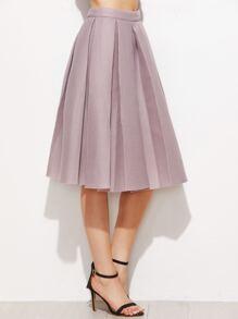 Pink High Waist Pleated Flare Skirt