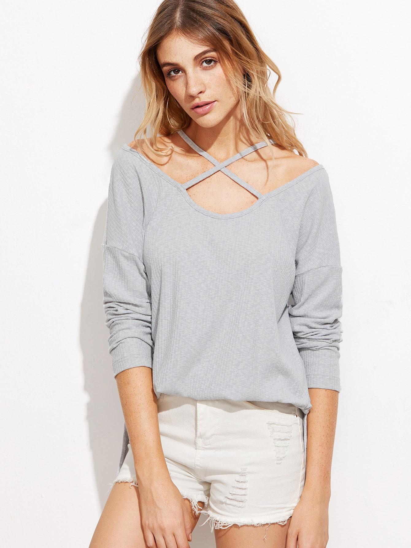 Heather Grey Ribbed Crisscross T-shirt tee161010701