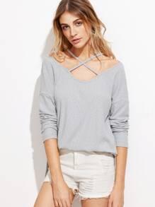 T-shirt épaules nues avec lacet croisé - gris