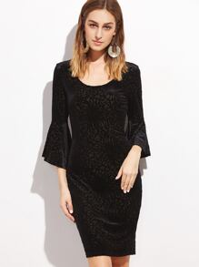 Black Textured Velvet Bell Sleeve Bodycon Dress