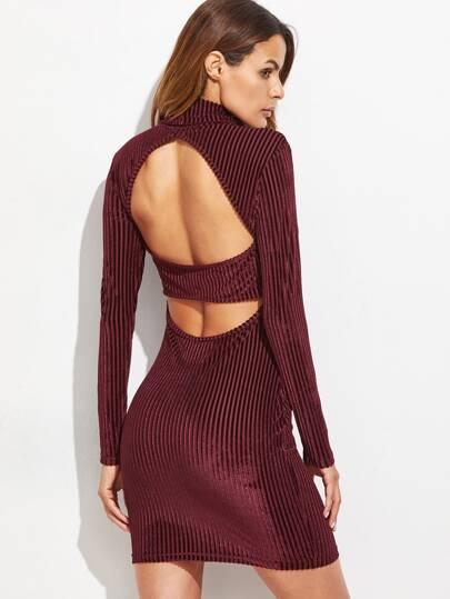Burgundy Cutout Back Striped Velvet Dress