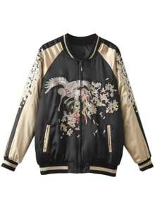 Black Color Block Embroidery Zipper Up Quilted Jacket