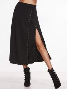 Black High Slit Metal Eyelet Skirt