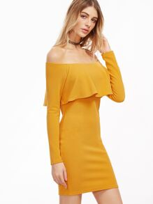 Yellow Off The Shoulder Ruffle Bodycon Dress