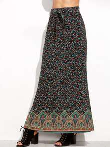 Calico Paisley Print Elastic Waist Split Side Skirt