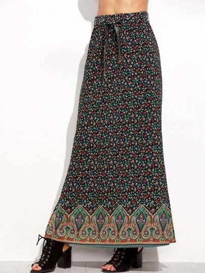 Calico Paisley Print Elastic Waist Split Side Skirt