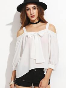 White Bow Tie Front Cold Shoulder Top