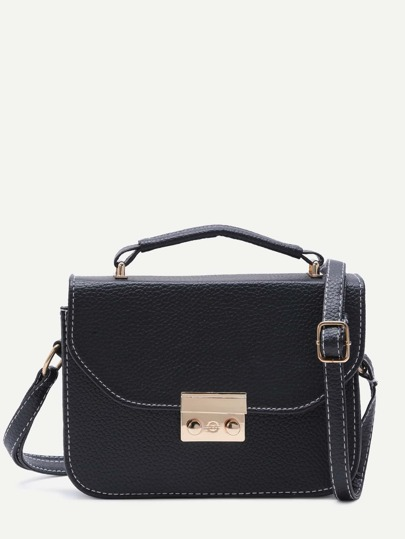 Black Pebbled PU Box Handbag With Strap