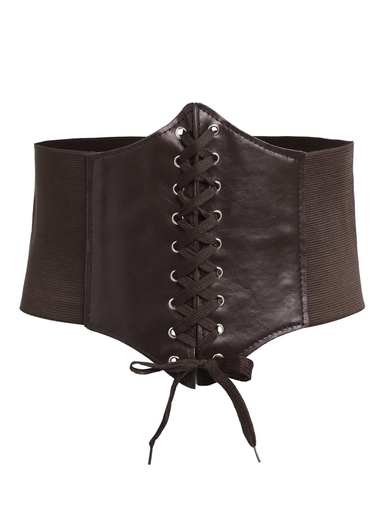 Фото Coffee Lace Up Faux Leather Wide Waist Belt. Купить с доставкой