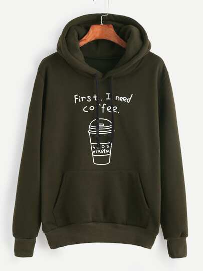 Army Green Printed Drawstring Hooded Sweatshirt With Pocket