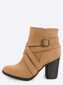 Chunky Heel Strappy Ankle Boots TAN