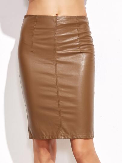 khaki faux leather skirt shein sheinside