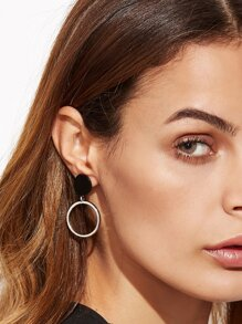 Silver Star Circle Hollow Out Asymmetrical Earrings