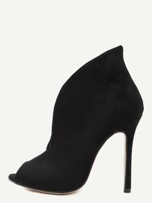 Black Faux Suede Peep Toe Heels