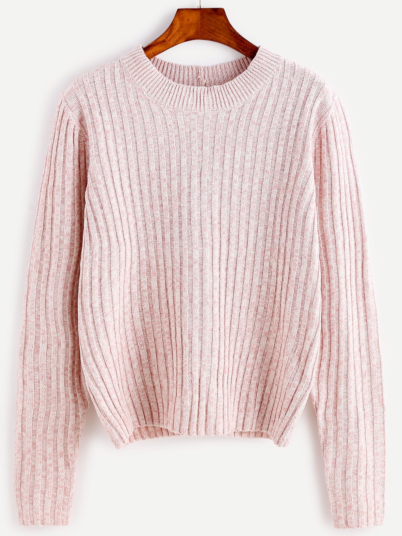 Pink Ribbed Lace Up Back Sweater sweater160915467