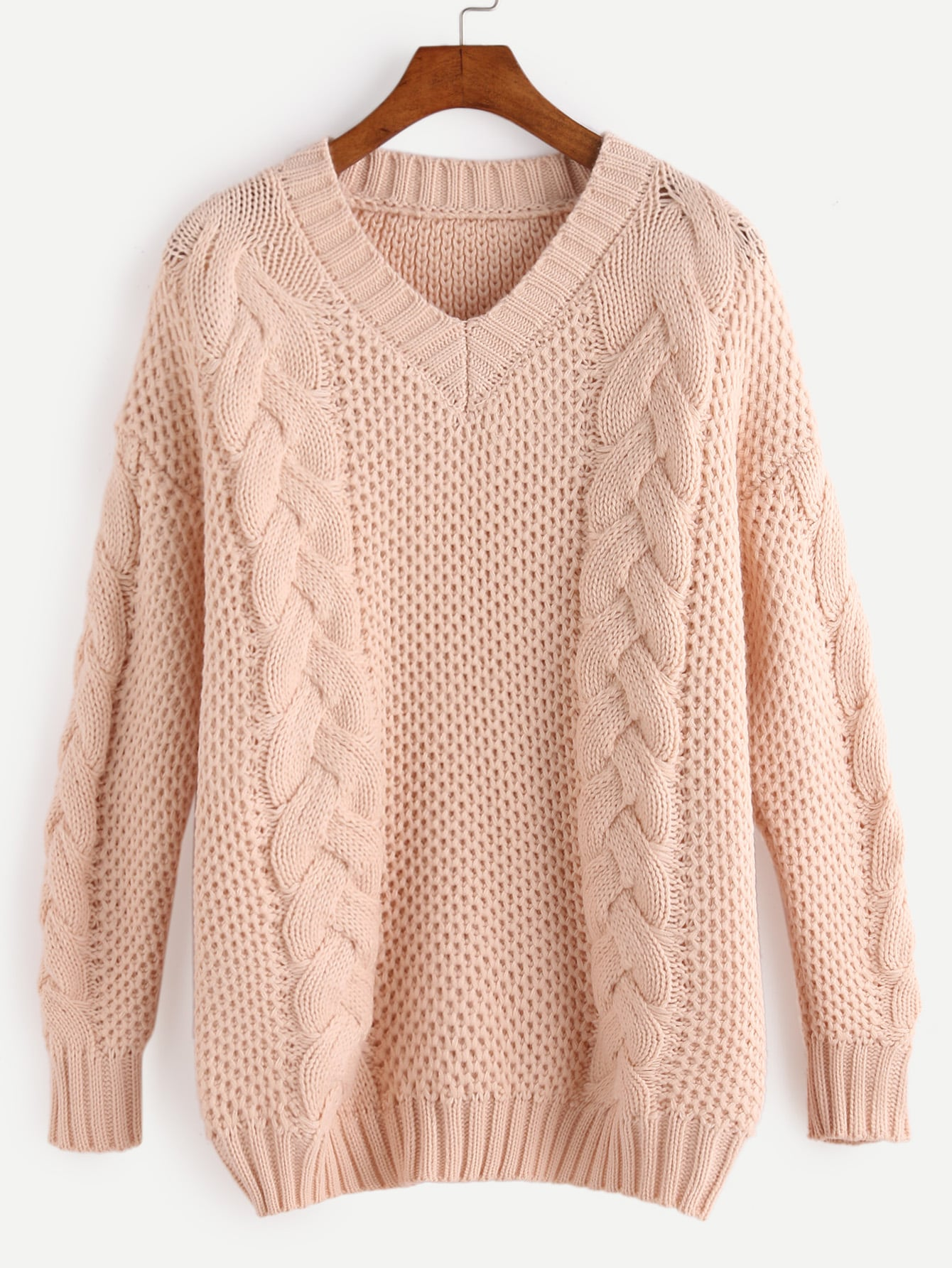 Apricot V Neck Cable Knit Sweater sweater161019102
