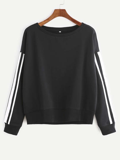 Black Drop Shoulder Striped Sleeve Sweatshirt
