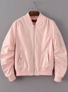 Pink Zipper Up Flight Jacket With Pockets