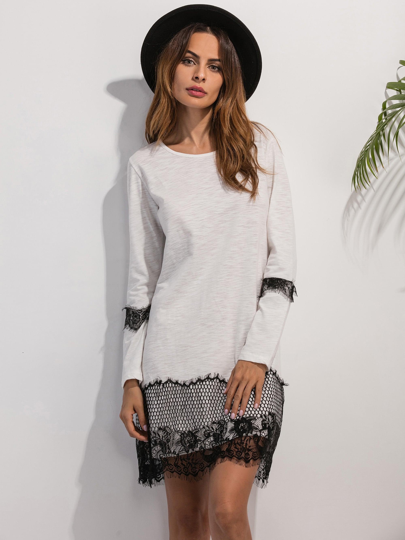 White Lace Detail Shift Dress