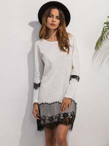 White Lace Detail Shift Dress