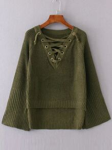 Army Green Lace Up V Neck High Low Sweater