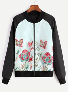 Contrast Embroidered Organza Bomber Jacket