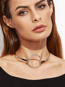 Silver Plated Hollow Metal Circle Choker Necklace
