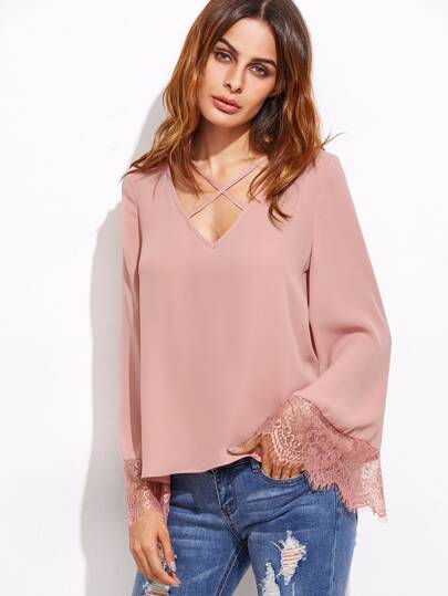 Pink Crisscross V Neck Lace Trim Top