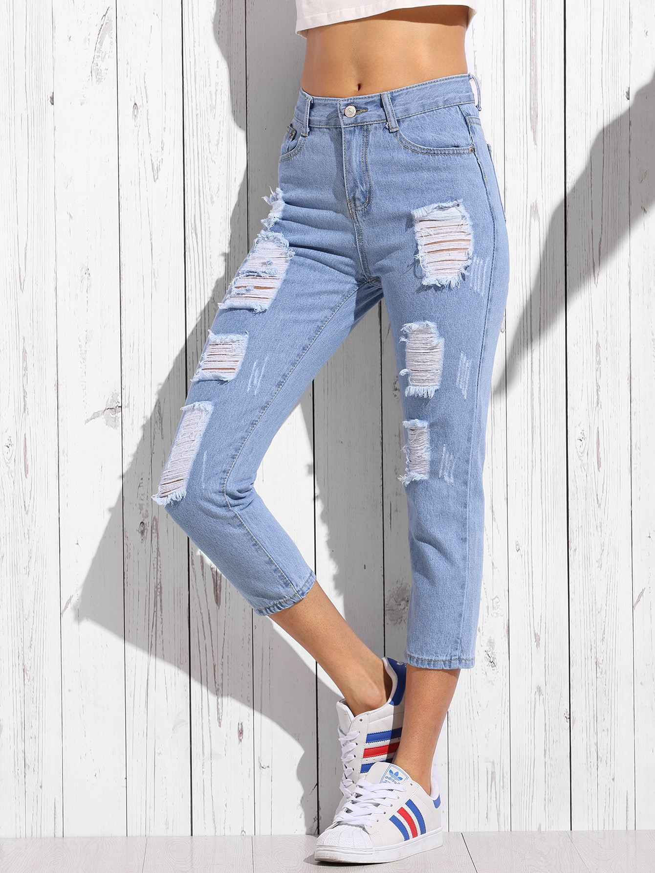Ripped Cuffed Jeans thumbnail