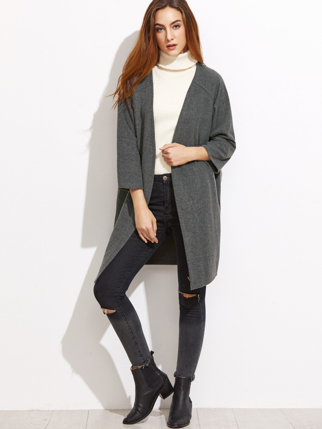 Dark Grey Raglan Sleeve CoatDark Grey Raglan Sleeve Coat<br><br>color: Grey<br>size: one-size