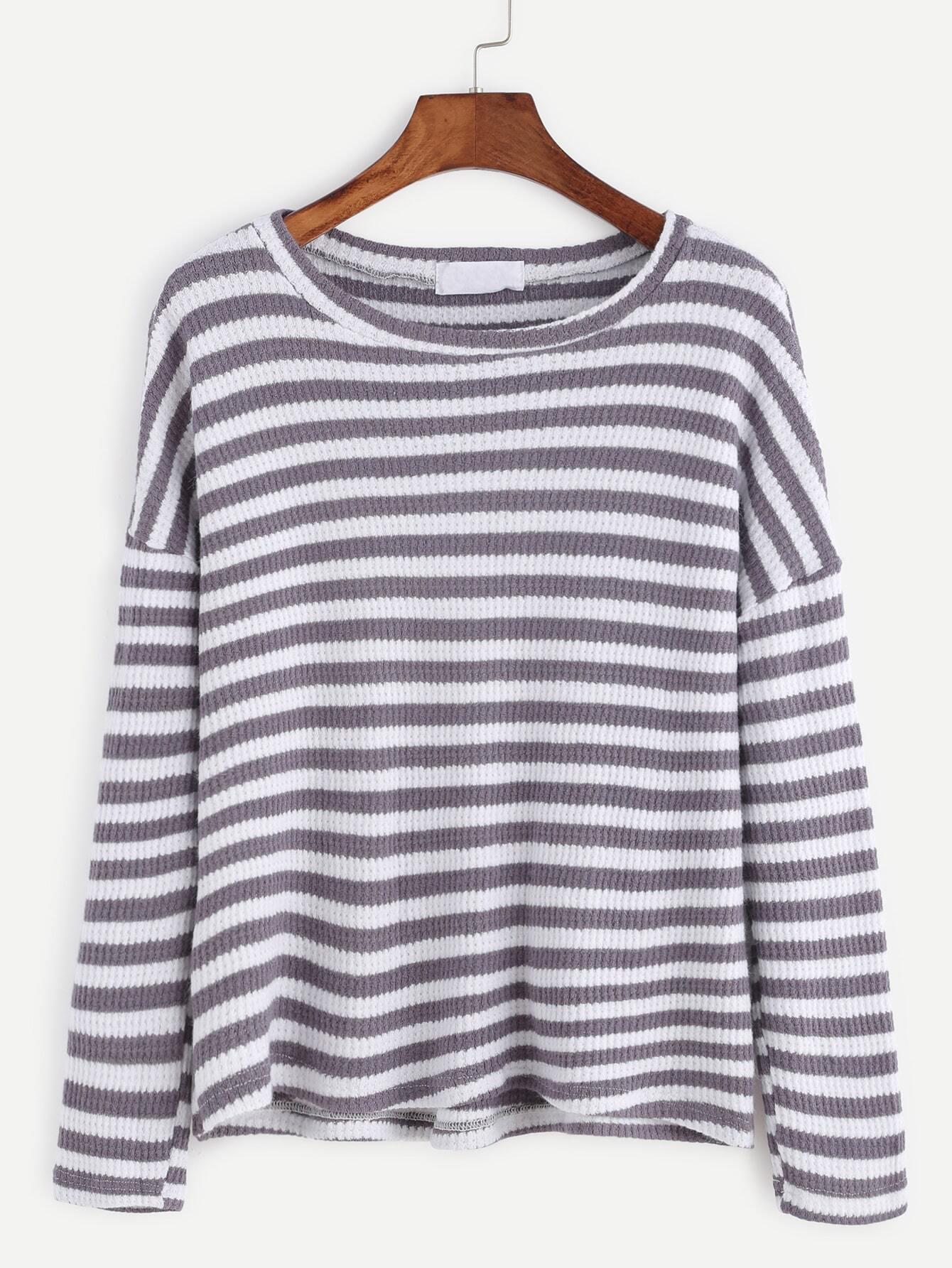 Contrast Stripe Drop Shoulder Ribbed T-shirt tee161026104
